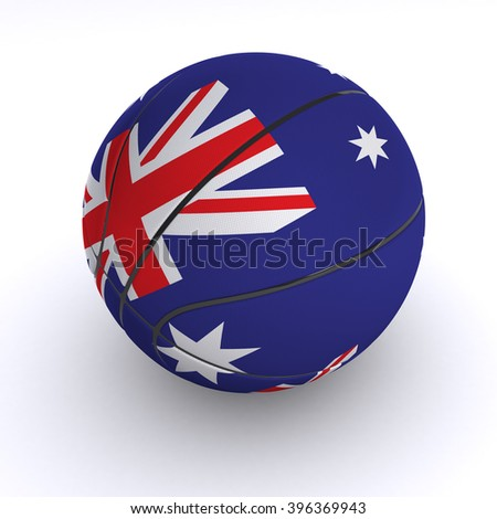 3D illustration of a basket ball with Australia flag on white. - stock photo