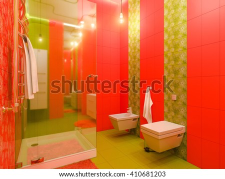 3D illustration of a bathroom interior design for children. Render bathroom picture displayed in green and orange colors. - stock photo