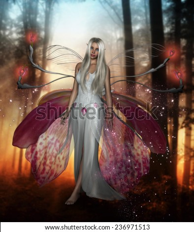 3D illustration of a beautiful female fairy with long silver hair and wings made from orchid petals walking in a forest.  - stock photo