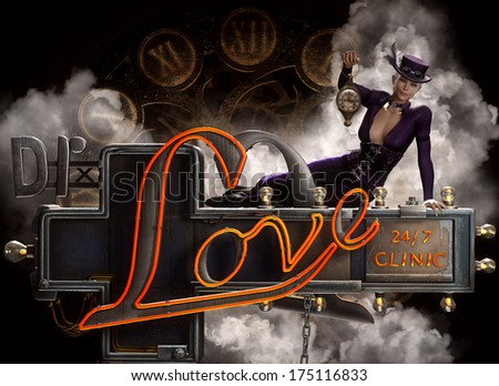 3D Illustration of a beautiful Steampunk female sitting on a neon Dr. Love sign with clocks and steam in the background.  - stock photo