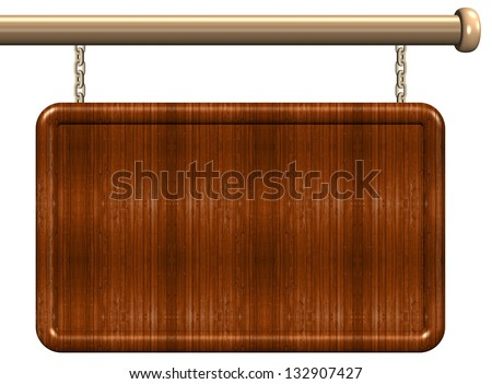 3d illustration of a blank wooden sign / Wooden sign - stock photo