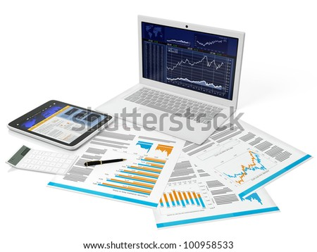 3d illustration of a business computer with a blank on a white background - stock photo