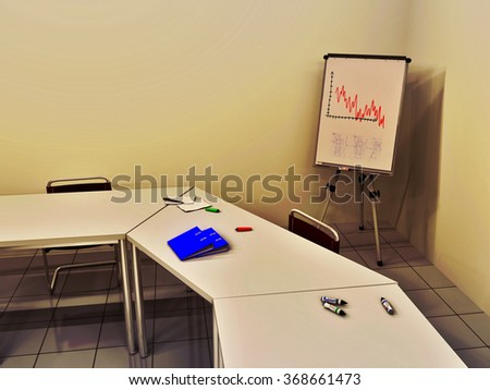 3D illustration of a business meeting room including ring binders, felt tip pens and document lying on some tables, chairs, and a flip chart in background - stock photo
