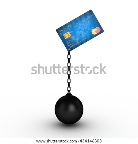 3D Illustration of a Credit Card with Ball and Chain hanging - stock photo