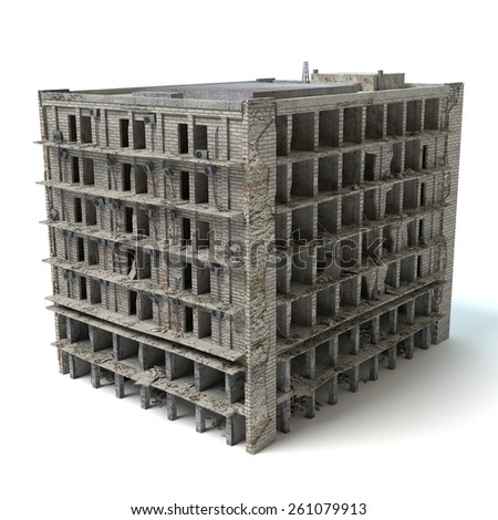 3d illustration of a damaged building - stock photo