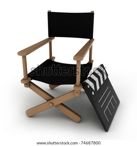 3D Illustration of a Director's Chair with a Clapperboard Beside it - stock photo