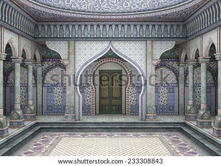 3D illustration of a fairytale oriental palace  - stock photo