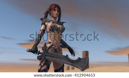 3d illustration of a fantasy warrior woman in desert environment - stock photo