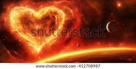 3d illustration of a fiery red and orange supernova nebula in heart shape with planets and stars. - stock photo
