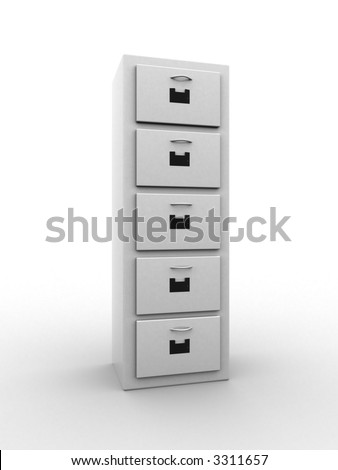3d illustration of a file cabinet. A clipping path is included for easy editing - stock photo