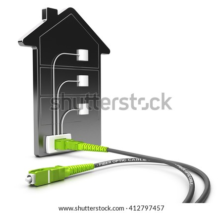 3D illustration of a FTTB network for high broadband access over white background, Fiber to the buiding concept. - stock photo