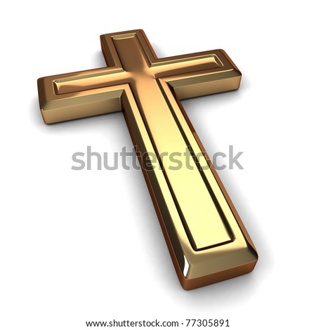 3D Illustration of a Gilded Cross - stock photo