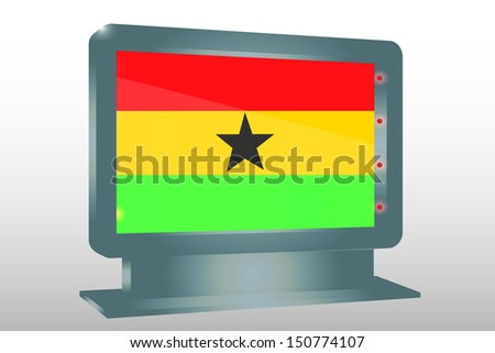 3D Illustration of a Glass Holder isolated with the flag of Ghana - stock photo
