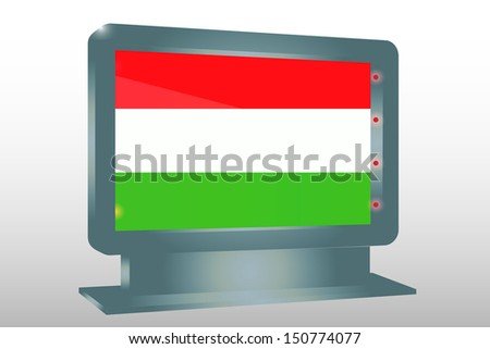 3D Illustration of a Glass Holder isolated with the flag of Hungary - stock photo