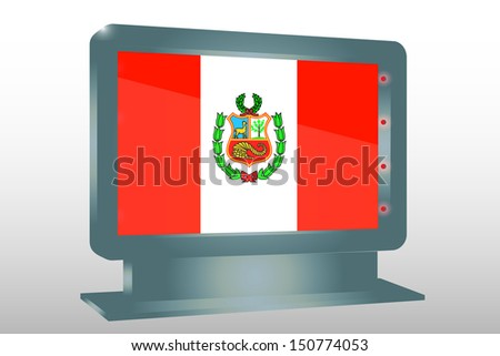 3D Illustration of a Glass Holder isolated with the flag of Peru - stock photo