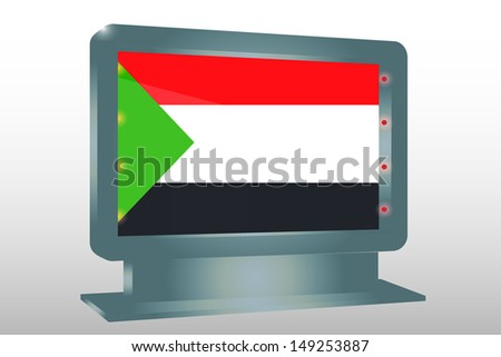 3D Illustration of a Glass Holder isolated with the flag of Sudan - stock photo