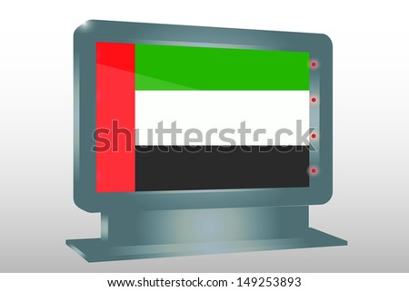 3D Illustration of a Glass Holder isolated with the flag of the United Arab Emirates - stock photo