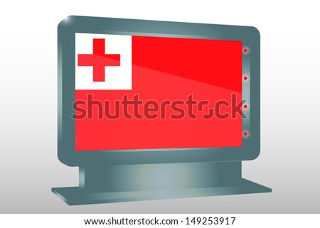 3D Illustration of a Glass Holder isolated with the flag of Tonga - stock photo
