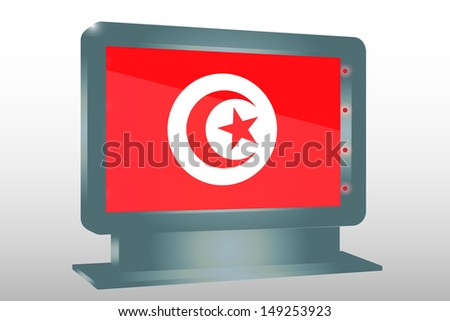 3D Illustration of a Glass Holder isolated with the flag of Tunisia - stock photo