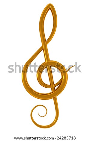 3d illustration of a golden treble clef over white background - stock photo