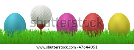 3d illustration of a golfball on a red tee between four colorful easter eggs  in grass - stock photo