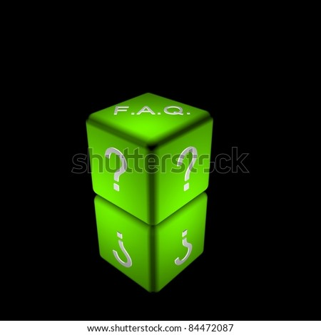 3d illustration of a green cube/dice to represent frequently asked questions - stock photo