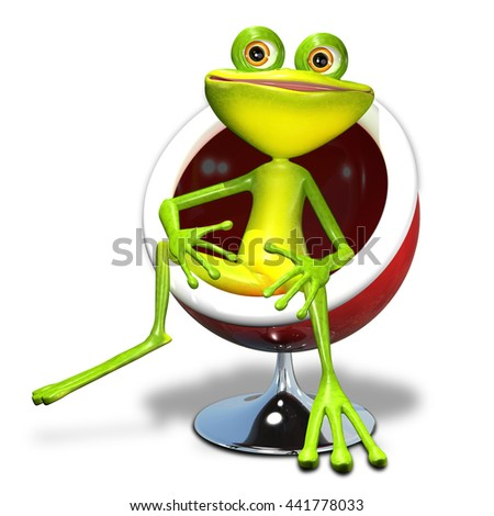 3d illustration of a green frog in a red chair - stock photo