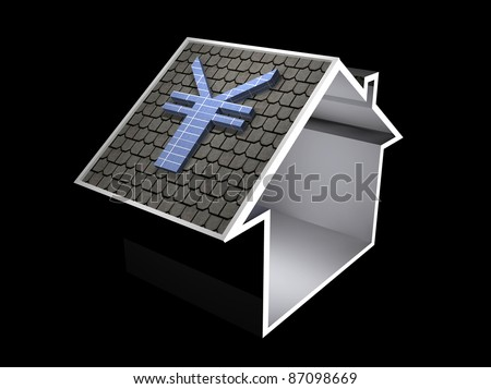 3d illustration of a home symbol with yen currency solar panel - stock photo