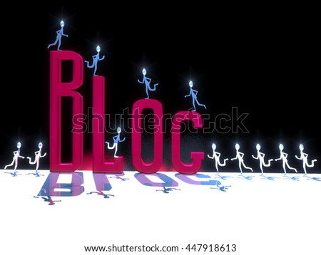 3D-illustration of a little metal men symbolic run to the semi-transparent red word blog, which stands on a white surface and black background - stock photo