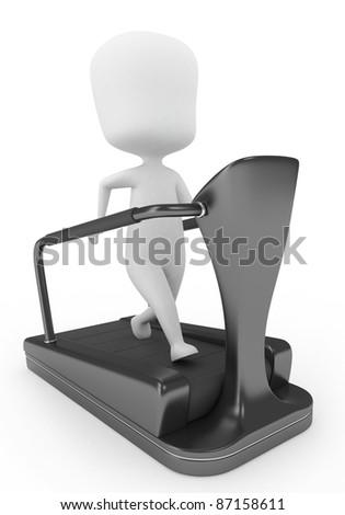 3D Illustration of a Man on a Treadmill - stock photo