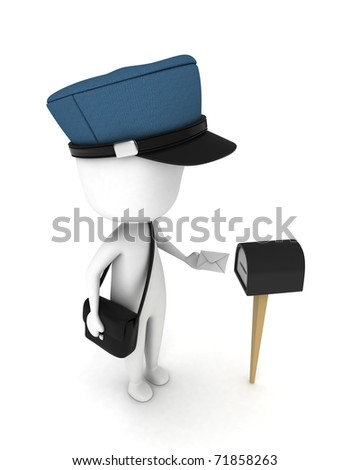 3D Illustration of a Man Putting a Letter in a Mailbox - stock photo