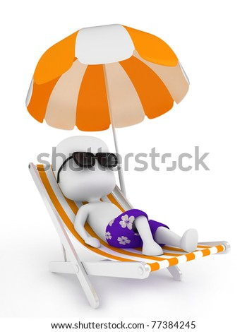 3D Illustration of a Man Relaxing on a Beach Chair - stock photo