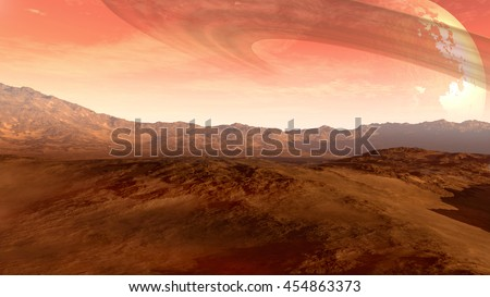3D Illustration of a Mars-like red planet with an arid landscape, rocky hills, mountains and a giant moon at the horizon with Saturn-like rings, for space exploration and science fiction backgrounds. - stock photo