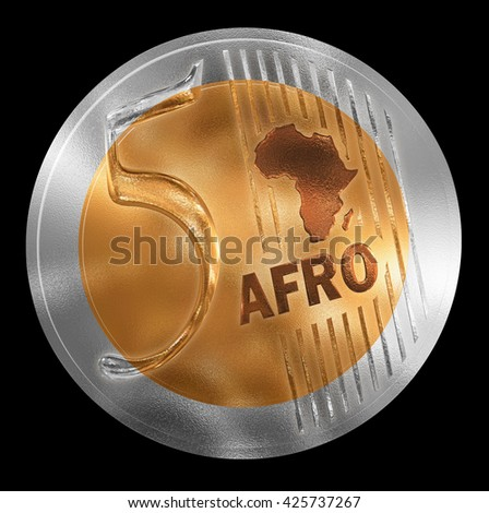 3D illustration of a non-existent coin. Conceptual monetary unit for Africa rendered similar to  European style. No in circulation. Coin value is Five. - stock photo