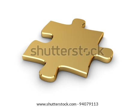 3D Illustration of a Piece of Jigsaw Puzzle - stock photo