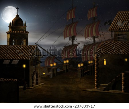 3d illustration of a Pirate ship in port with the sea and night moon shining on it.  - stock photo
