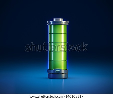 3d illustration of a powerful battery on blue background - stock photo