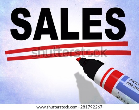 3D illustration of a red felt tip marker used to underline the word sales, referring to concepts such as price reduction, commercial promotions, marketing actions, as well as sales management - stock photo