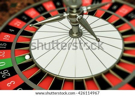 3d illustration of a roulette with ball on number zero - stock photo