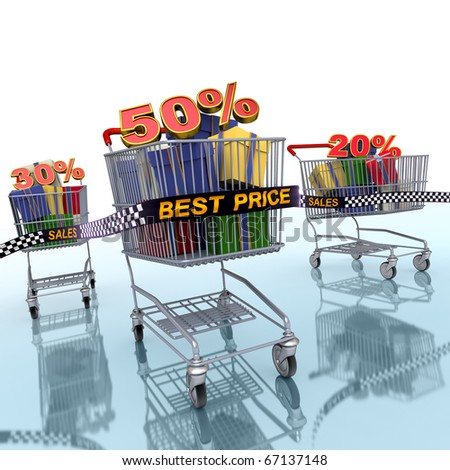 3d Illustration of a shopping carts which abstract discount percentages. - stock photo