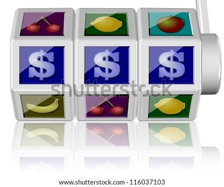 3d illustration of a slot machine on the white background / Slot machine - stock photo
