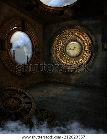 3D illustration of a Steampunk background. A room with a view of smoke stacks, gold clock and grungy floor clock.  All ready for your photo-manipulations or 3D renders.  - stock photo