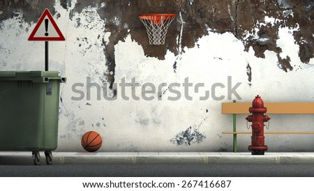 3d illustration of a street and basketball - stock photo