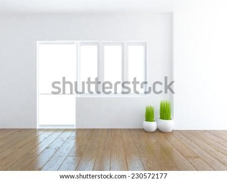 3D illustration of a white empty interior  - stock photo