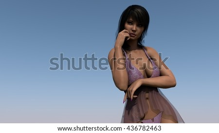 3d illustration of a young asian girl posing on sky background - stock photo