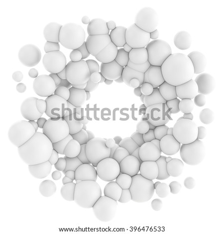 3D illustration of abstract array consisting of the white spheres. Spherical particles in the form of an annular on white background - stock photo