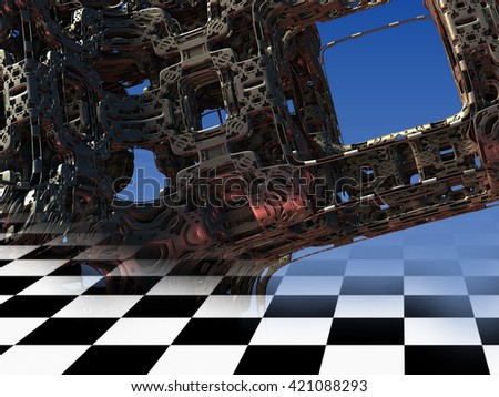 3d illustration of abstract geometric composition ,digital art works. - stock photo