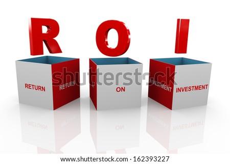 3d illustration of acronym roi return on investmentbox. - stock photo