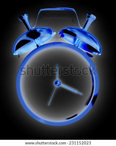 3D illustration of alarm clock icon on a black background - stock photo