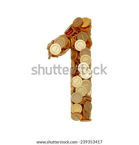 3d illustration of alphabet number digit one 1 with golden coins isolated on white background - stock photo
